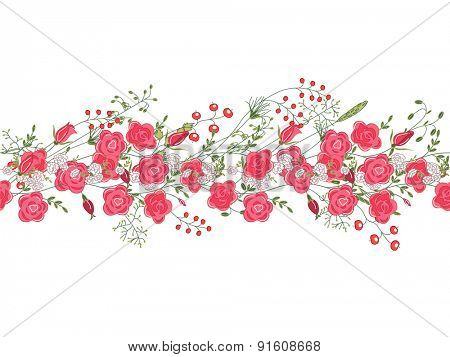 Detailed contour  seamless pattern brush with roses and herbs on white. Endless horizontal texture for your design, greeting cards, wedding announcements, posters.