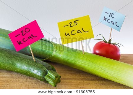 Negative calorie food; leeks, zucchini and tomato
