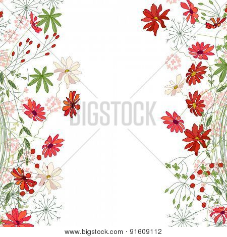 Detailed contour square frame with herbs, daisy and other flowers isolated on white. Greeting card for your design, greeting cards, wedding announcements, posters.