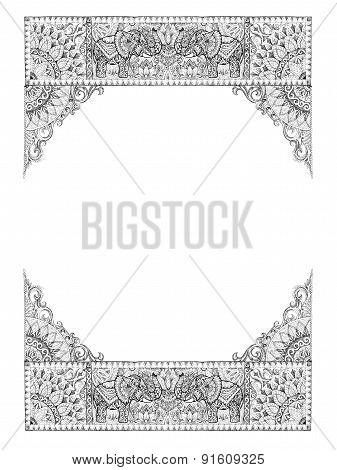 Decorative Frames For Cards, Wedding Invitations, Menus, Tattoo