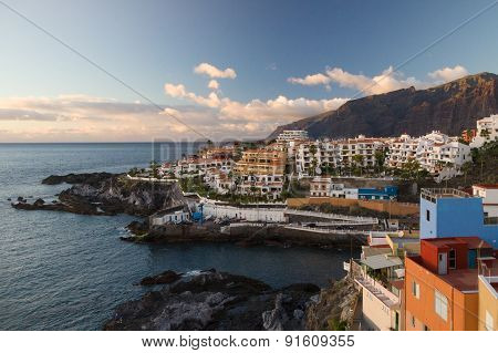 Sunset Over Los Gigantes Cliffs And Resorts Of Puerto Santiago, Tenerife