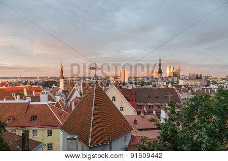 Old Town And Modern City Of Tallinn, Estonia At Sunset