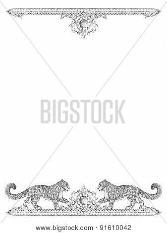 Decorative Frames For Cards, Wedding Invitations, Menus, With Snow Leopard