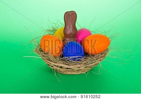 Eggs and a chocolate rabbit
