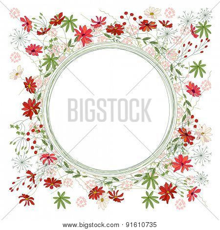 Detailed contour wreath with herbs, daisy and wild flowers isolated on white. Round frame for your design, greeting cards, announcements, posters.