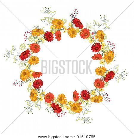 Detailed contour wreath  with gerbera and berries isolated on white. Round frame  for your design, greeting cards, announcements, posters.