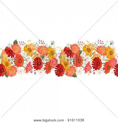 Detailed contour seamless pattern brush with gerbera and berries on white.  Endless horizontal texture for your design for your design, greeting cards, announcements, posters.