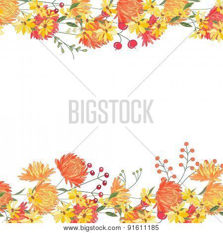 Detailed contour square frame with gerbera and berries. Greeting card template for your design, greeting cards, announcements, posters.