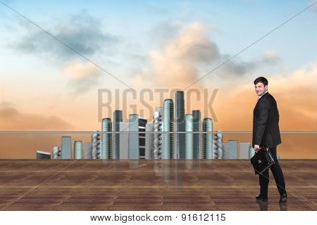 Businessman on the roof