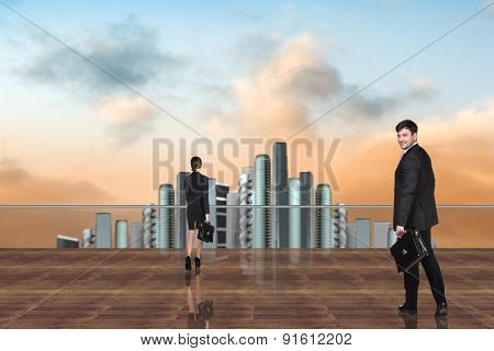 Business People on the roof