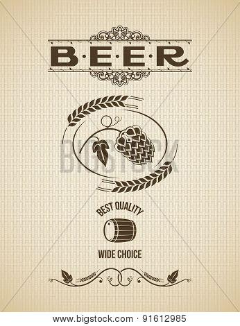 beer hops design vintage background