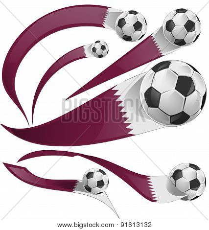 Qatar Flag Set With Soccer Ball