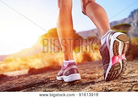 Trail Running Woman. Athlete Running Sport Feet On Trail Healthy Lifestyle Fitness