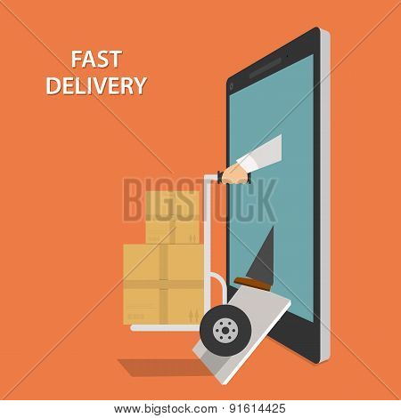 Fast Goods Delivery Isometric Vector Illustraion