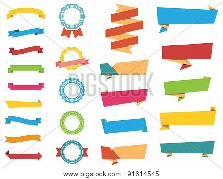 Vector Stickers, Labels Banners And Ribbons
