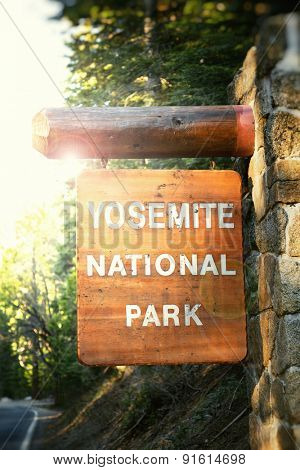 Yosemite National Park sign, California, USA. Filtered to look like an instagram style retro image.
