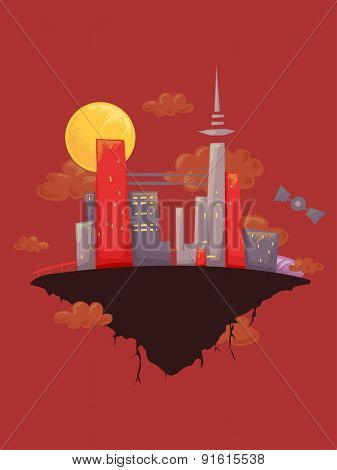 Illustration of a Floating City Framed Against a Red Background