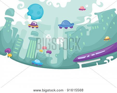 Futuristic Illustration of a City with Floating Cars