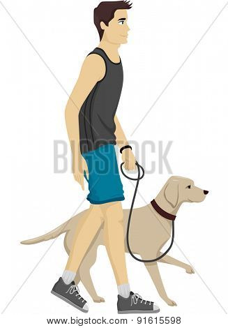 Illustration of a Man Taking His Dog for a Walk