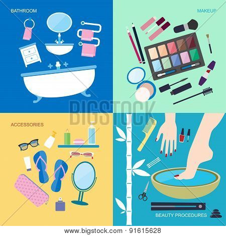 Bathroom furniture and accessories for washing and makeup