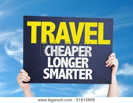 Travel Cheaper Longer Smarter card with sky background