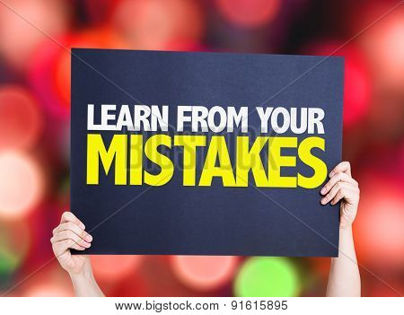 Learn From Your Mistakes card with bokeh background
