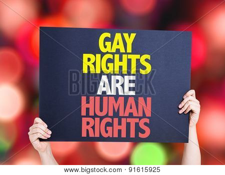 Gay Rights Are Human Rights card with bokeh background