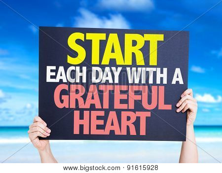 Start Each Day With a Grateful Heart card with beach background