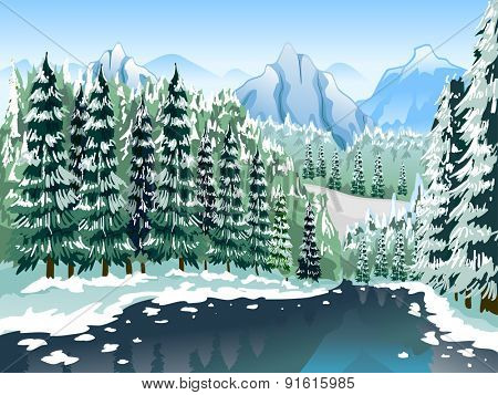 Illustration of a Coniferous Forest Covered with Layers of Snow