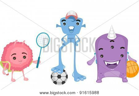 Illustration of Cute Little Aliens Playing Sports