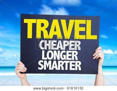 Travel Cheaper Longer Smarter card with beach background