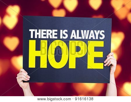 There Is Always Hope card with heart bokeh background