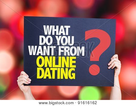 What Do You Want From Online Dating? card with bokeh background