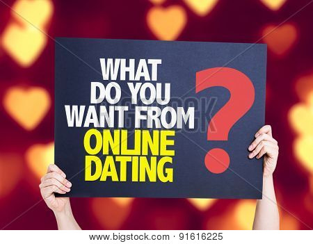 What Do You Want From Online Dating? card with heart bokeh background