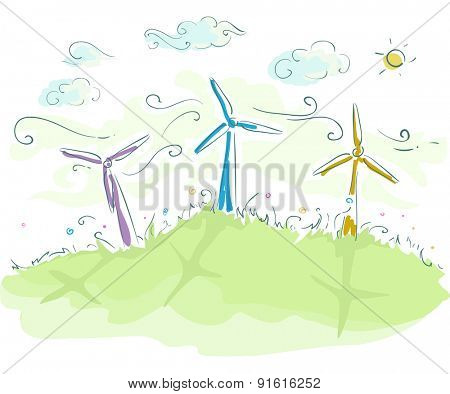 Sketchy Illustration of Wind Turbines Spinning Furiously