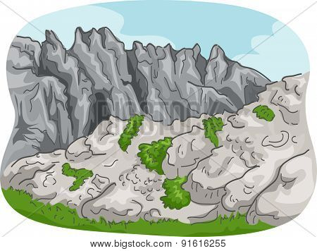 Scenic Illustration of a Rocky Mountain Range with Some Foliage Below
