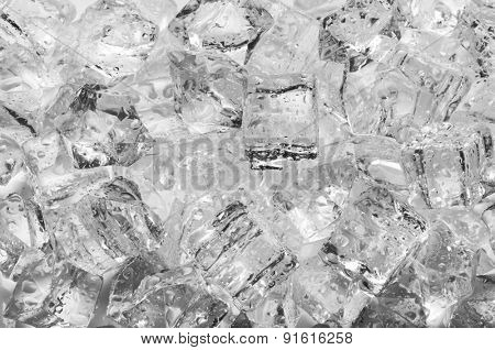 Ice cubes with drops, close up