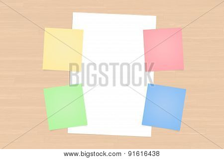 Colorful Sticky Posts And White Paper