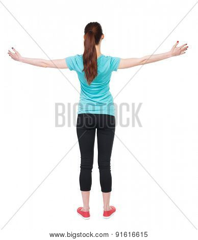 back view standing young beautiful  woman in in sportswear  involved in Pilates. Rear view people collection.  backside view person.  Isolated over white background.  athlete doing exercises for hands