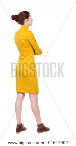 back view of standing young beautiful  woman in dress.  girl  watching. Rear view people collection.  Isolated over white background. Girl in mustard strict dress stands sideways and looks right.