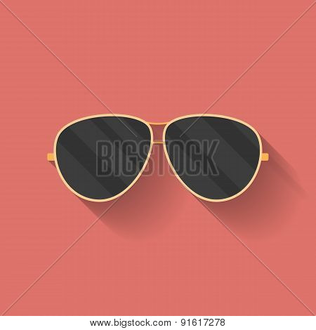 Icon Of Police Or Cop Sunglasses, Glasses. Flat Style