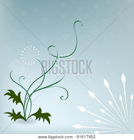 Abstract dandelions blue background with copy space.