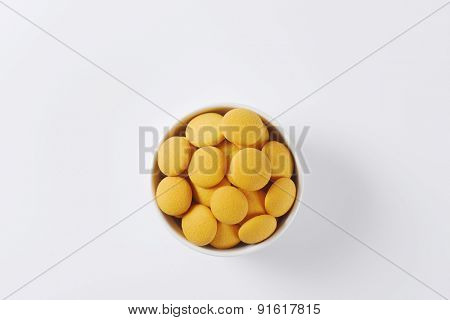 overhead view of bowl with soft sponge biscuits