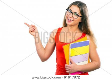 Young happy girl student. Copy space