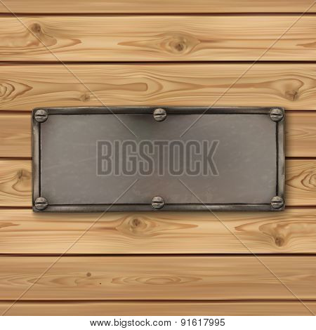 Vintage, old metal banner on realistic wooden boards.