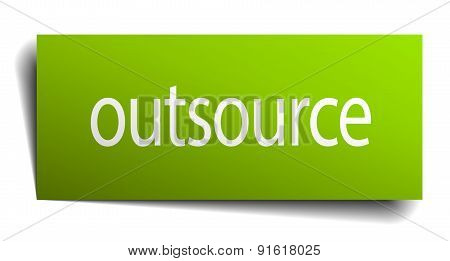 Outsource Square Paper Sign Isolated On White
