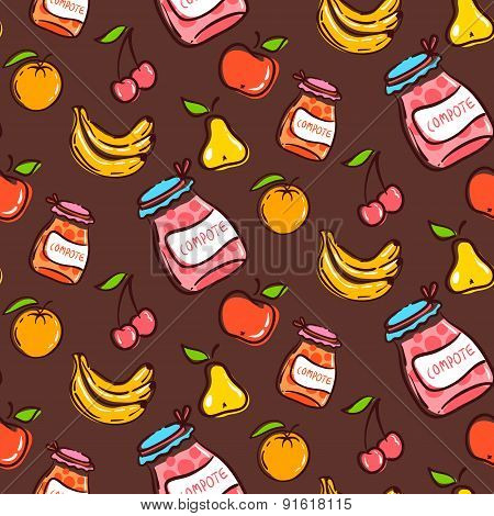 Fruits Seamless Pattern On A Brown Background