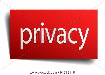 Privacy Red Paper Sign On White Background