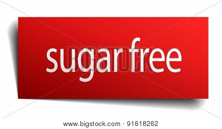 Sugar Free Red Paper Sign Isolated On White