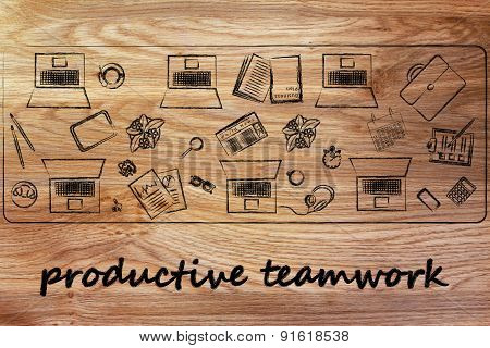 Productivity Teamwork: Shared Desk With Laptops And Business Objects